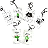 Zhi Jin Cute Cats Bus Subway Card Holder Cactus Key Ring Credit Card Sleeves Protectors Case Organizer Office Travel Gift Pack of 5