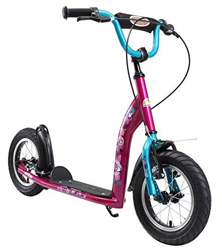 BIKESTAR Roller Kinderroller Tretroller Kickscooter mit Luftreifen für Mädchen ab 6 - 7 Jahre ★ 12 Zoll Sport Kinder Scooter ★ Berry & Türkis