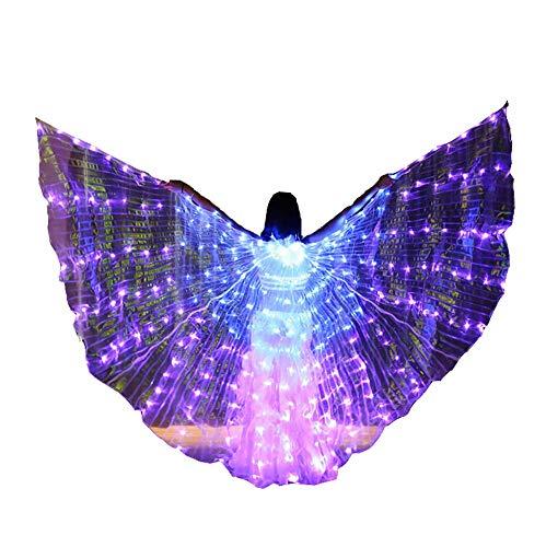 Jolie Damen Isis Wings Professionel Bauchtanz Kostüm Winkelflügel mit tragbaren Sticks (Zweifarbenwechsel),Bunt (Professionelle Bauchtanz Kostüm Ägypten)