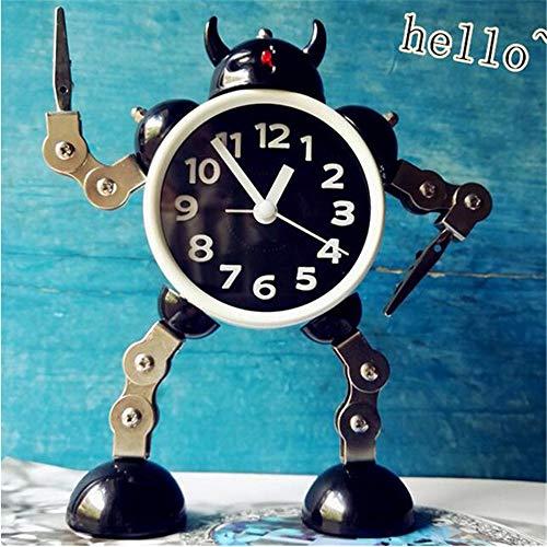 guyuell Design Roboter Wecker Nette Kinder Schlafzimmer Dekor Wecker Quarz Tisch Aufwachen Wecker, C