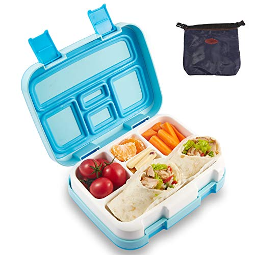 RiverPool® Bento Box Lunchbox for Kids BPA Schadstofffrei, Brotdose 5 Unterteilungen (Fächer) Geruchs- und Geschmacksneutral Mikrowellengeeignet,Spülmaschinengeeignet with Bento Box Cover(Blau)