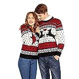 Logobeing Jersey Navidad Suéter Feo para Dos Personas Suéter de Parejas de Navidad Blusa Mangas Largas de Navidad Tops Chaquetas de Punto (XL, Blanco)