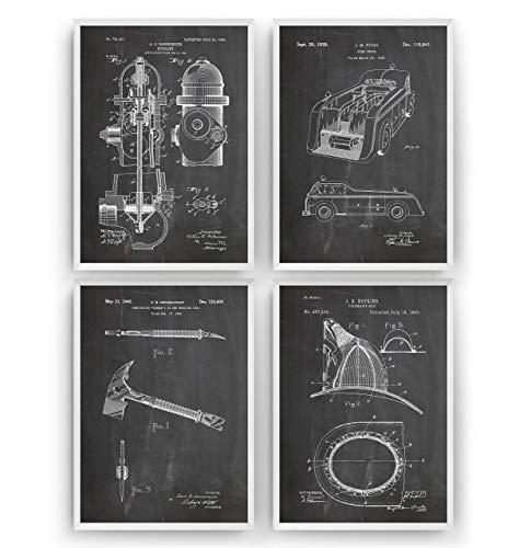 Feuerwehrmann Patent Poster - Set Of 4 - Feuerwehr Feuerwehrauto Feuerhydrant Wall Vintage Frau Retro Helm Mauer Zeichnungen Print Art Kunst Entwurf Geschenke Vater - Rahmen nicht enthalten -