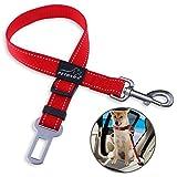 PETBABA Hundeleine Auto Sicherheitsgurt, Reflektierend Verstellbar Nylon Hundegurt Adapter für Hunde Rot