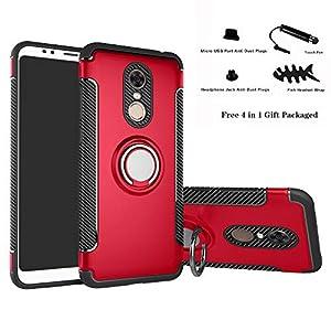 Labanema Xiaomi Redmi 5 Plus Funda, 360 Rotating Ring Grip Stand Holder Capa TPU + PC Shockproof Anti-rasguños teléfono Caso protección Cáscara Cover para Xiaomi Redmi 5 Plus - Rojo