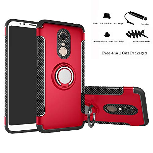 Labanema Xiaomi Redmi 5 Plus Funda, 360 Rotating Ring Grip Stand Holder Capa TPU + PC Shockproof Anti-rasguños teléfono Caso protección Cáscara Cover para Xiaomi Redmi 5 Plus - Rojo