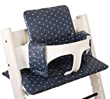 Coussin Chaise Haute pour Stokke Tripp Trapp - gris avec des étoiles - Facile à nettoyer ♥