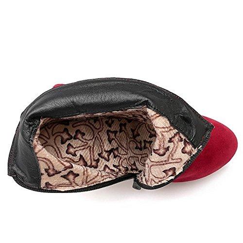RAZAMAZA Femmes Bottes De Cheville Talon Haut Bottines Fermeture Eclair Avec Bow red