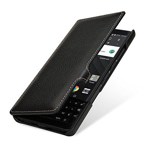 StilGut Book Type Lederhülle für BlackBerry Key2. Seitlich klappbares Flip-Case aus Echtleder mit Smart Cover Funktion, Schwarz mit Clip