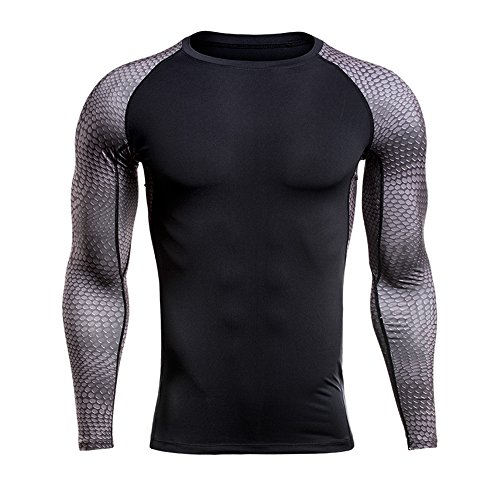 1Bests Mens Fitness Outdoors Compression Tight Baselayer T-Shirt Long Sleeve Tops (2, XXXXL)
