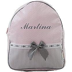Mochila o Bolsa Infantil lencera Personalizada con Nombre en plastificado Rosa, Rayas Gris y pasacintas Gris