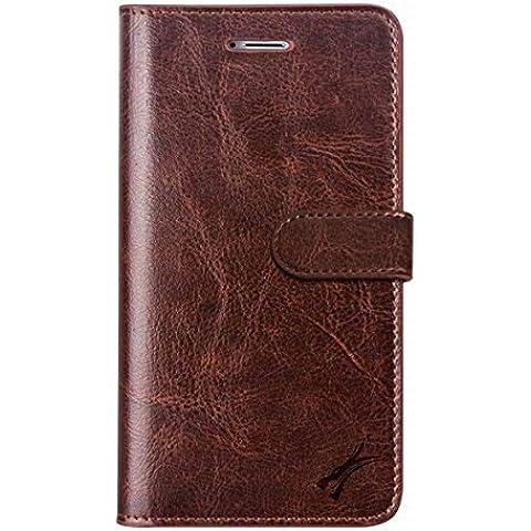 TUFFskinz iPhone 6 Plus/6S Plus (13,97 (5,5 Dimensioni schermo cm)-Custodia a portafoglio in pelle, con aletta Classic Brown