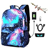 Kuccy Zaino luminoso con porta USB/sacchetto di matita/blocco password/portachiavi, borsa per notebook stampa esterna Computer Boy Girl School zaino Galaxy Schoolbag