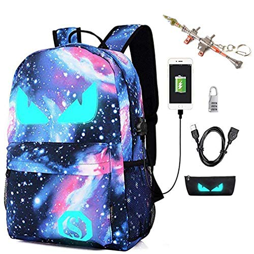 Kuccy Luminous Galaxy Port Girl Backpack Du Extérieure Computer À Boy Usbsac Crayonsverrouillage De School Avec Mot Impression N0PkZn8OwX