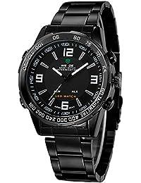 Alienwork DualTime Reloj Digital- Analógico Multi-función LED Acero inoxidable negro negro OS.WH-1009-B-3