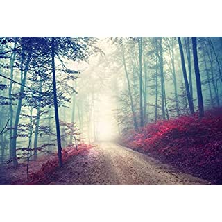 azutura Magical Red Road Wall Mural Misty Forest Tree Photo Wallpaper Living Room Decor available in 8 Sizes Gigantic Digital