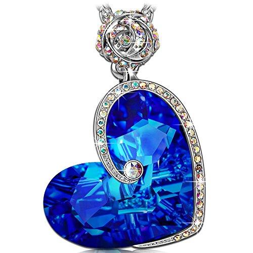 Susan y collana donna con cristalli da swarovski blu cuore gioielli regalo donne compleanno regalo san valentino regalofestadellamamma regali natale anniversario regali per fidanzata moglie figlia