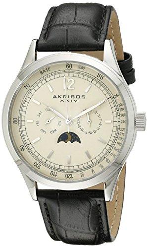 Akribos XXIV Men's AK638SSW Retro Multi-Function Stainless Steel Black Leather Strap Watch