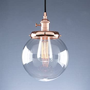 Classic style clear glass bell dome ceiling lamp pendant light phansthy vintage pendant light retro industrial ceiling light e27 globe clear glass shade hanging light lamp for loft kitchen coffee barbulbs not included mozeypictures Image collections