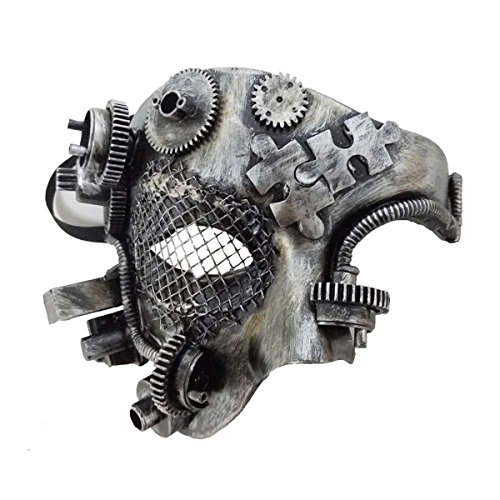 Dark Dreams Gothic Steampunk Maske Silver Steam I Gears Cyber Robot Metalloptik