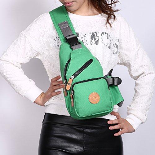 Eshow Borsa a Tracolla di Tela da Donna per Viaggio Outdoor Shopping Ciclissimo Borsello Monospalla Borsa Petto Verde Verde