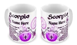 Personalisierte JEDER NAME Sternzeichen Skorpion Astrologie Horoskop Sternzeichen lustige Tasse als Geschenk–Pink
