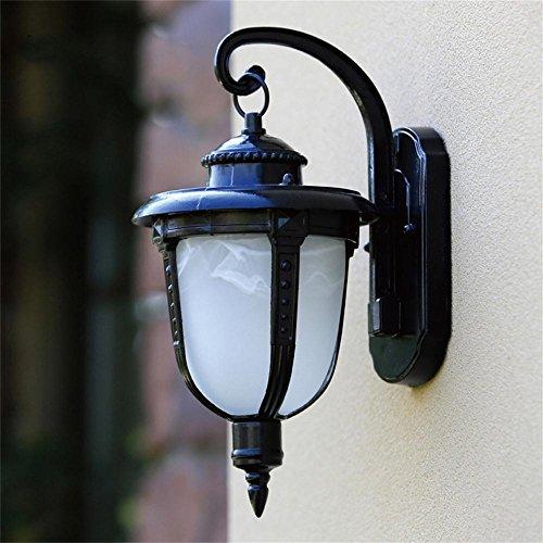 LightSeiEU Einzelkopf-Wandlampe Schlafzimmer Balkon Wandlampe kleinen Fischer Lichter Gartenbeleuchtung TV Kulisse Ganglichter (Farbe : Schwarz) -