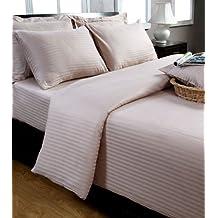 Homescapes Funda de almohada Confort con rayas de satén estilo-Housewife-50 x 90 cm de color Marron en 100% algodon egipcio densidad de 130 hilos/cm²