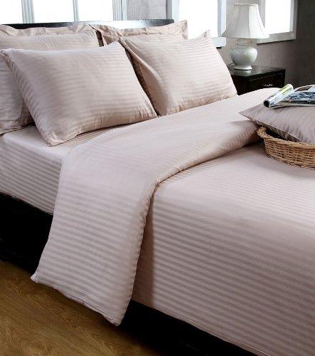 Homescapes 2 teilige Damast Bettwäsche 135x200 cm taupe beige 100% reine ägyptische Baumwolle Fadendichte 330 - Damast Streifen Bettbezug