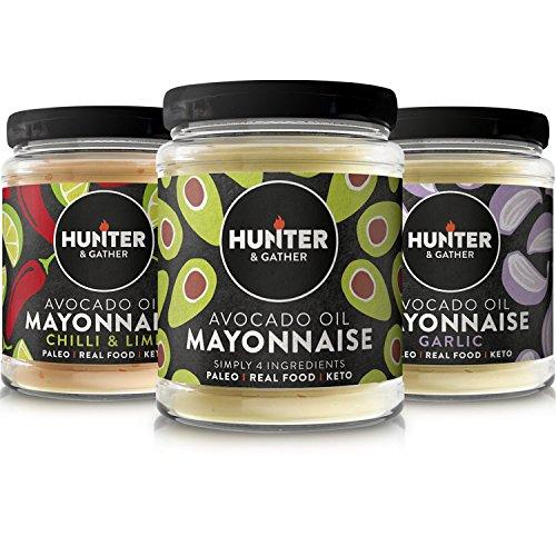 1 x Chilli & Limone 1 x Knoblauch 1 x Classic Avocadoöl Glutenfreie Paläo Mayonnaise 175g -