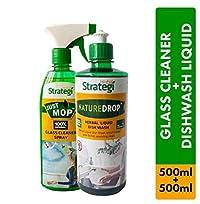 Herbal Strategi Glass Cleaner Spray 500ml, Dishwash Liquid 500ml (Pack of 2)