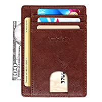 Ambielly Magnetic Wallet Genuine Slim Leather Rfid Blocking Wallet Minimalistic Credit Card Holder Men