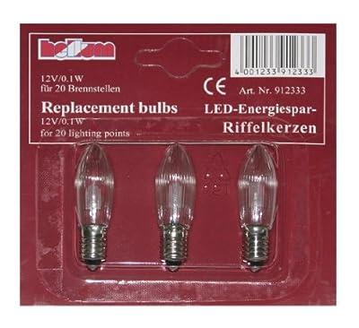 Hellum 912333 Ersatzkerze Riffelkerze 3 Stück für Lichterkette LED warm-weiß, klar, 12V, für Innen/Außen von Hellum - Lampenhans.de
