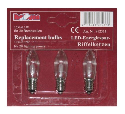 Hellum 912333 Ersatzkerze Riffelkerze 3 Stück für Lichterkette LED warm-weiß, klar, 12V, für Innen/Außen