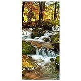 Apalis Raumteiler - Wasserfall herbstlicher Wald 250x120cm, Aufhängung: inkl. Transparenter Halterung