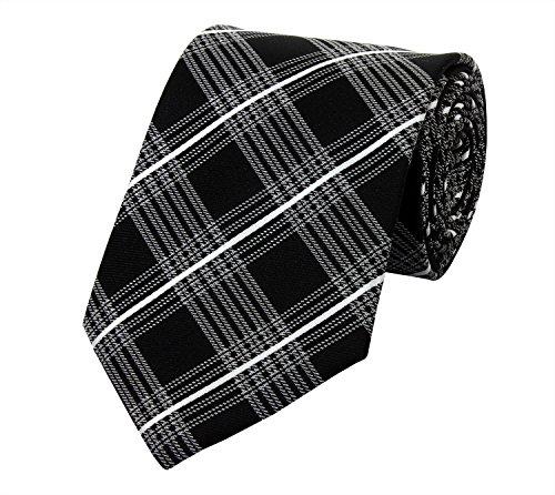 Moderne Fabio Farini Krawatte 8 cm in verschiedenen Farben, Schwarz-Grau kariert (Schwarz Und Rosa Krawatte)