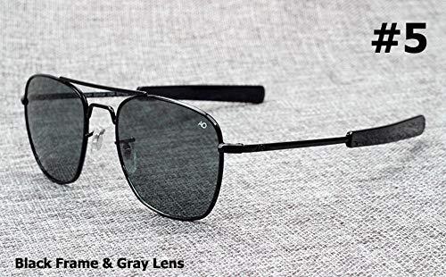 Gafas De Sol Piloto Militar del Ejército Americano De La Marca Gafas De Sol De 54 Mm De La Lente De Cristal Óptico Gafas De Sol Negro Gris