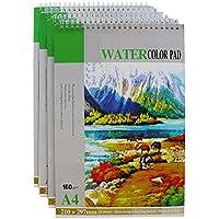 Bloc de Acuarela (4 piezas) - Bloc de Dibujo A4 - Cuaderno de Dibujo (21 x 29,7 cm) 160gsm (94 Páginas Blancas) - Papel de Dibujo Perfecto para Pinturas Húmedas, Secas y Mixtas