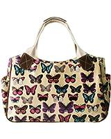 Miss Lulu Women's Girls Oilcloth Flower Owl Polka Dot Butterfly Day Tote Shopper Travel Hand Bag
