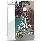 Finoo Huawei P9 Lite Handy-Tasche Schutzhülle | ultra leichte transparente Handyhülle aus flexiblen Silikon | stylisches TPU Cover Case mit Motiv | Life is better in Flipflops