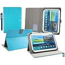 Emartbuy Wolder miTab Pro + 10.1 Pulgadas HD Tablet PC Universal ( 10 - 11 Pulgadas ) Turquesa Ángulo Múltiples Ejecutivo Folio Funda Carcasa Wallet Case Cover Con Ranuras Para Tarjetas+ Lápiz Óptico