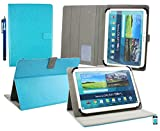 Emartbuy® Denver TIQ-11003 10.6 Zoll Tablet Universalbereich (10-11 Zoll) Türkis Multi Angle Exekutiv Folio Mappen Kasten Abdeckung mit Kartensteckplätze + Eingabestift