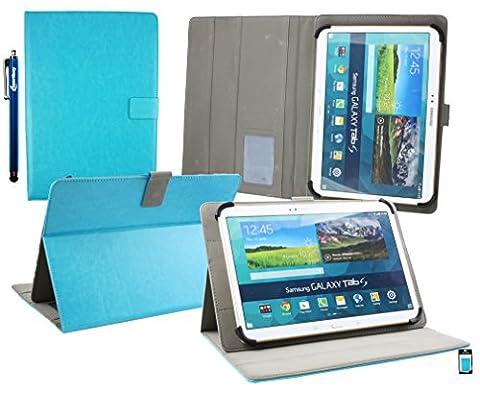 Emartbuy® Samsung Galaxy Tab 4 10.1 Advanced SM-T536 Universale Série ( 10 - 11 Pouce ) Turquoise Angle Multi Folio Exécutif Etui Coque Portefeuille Wallet Avec des Fentes de Cartes + Stylet