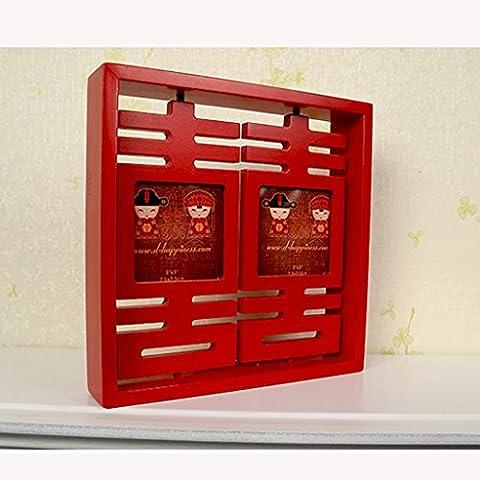 fuentes de la boda de la foto del marco del marco de la boda creativa decoración festiva doble - madera sólida Shuai ( Tamaño : A