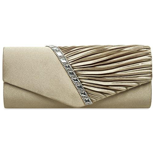 Dekor Taupe Hochzeit (CASPAR TA391 elegante Damen Satin Clutsch Tasche Abendtasche mit Glitzer Strass und Falten, Farbe:taupe;Größe:One Size)