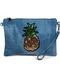 styleBREAKER Jeans Clutch mit glitzer Pailletten Ananas, Schulterriemen und Handschlaufe, Tasche, Damen 02012176