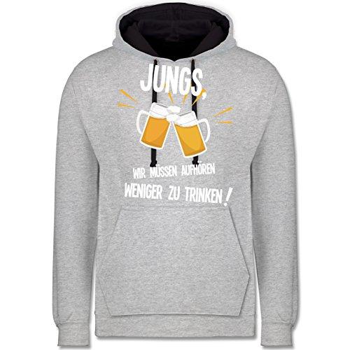 Statement Shirts - Jungs, wir müssen aufhören weniger zu trinken - Kontrast Hoodie Grau meliert/Dunkelblau