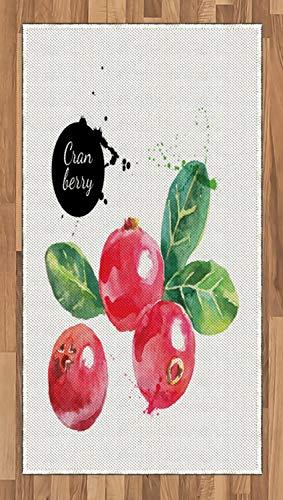 ABAKUHAUS Obst Teppich, Aquarell Cranberries, Deko-Teppich Digitaldruck, Färben mit langfristigen Halt, 80 x 150 cm, Dunkle Koralle Schwarz und Grün - Cranberry Farbe Teppich