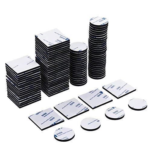 Fantesi 100 Stück Doppelseitige Aufkleber Schwarz Platz Schaumstoff Klebeband Strong Pad Montagekleber, quadratisch und rund -
