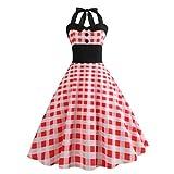MRULIC Neckholder Retro Kleid Petticoat Faltenrock Festkleid Christmas Halloween Oktoberfes Karneval(I-Rot,EU-38-40/CN-L)